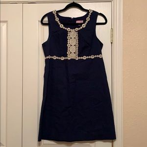 Lilly Pulitzer navy and gold dress